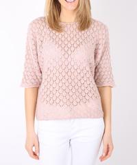 ハニカムデザインセーター/Pink