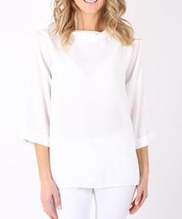ハイネックシャツブラウス/White