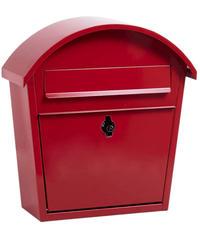 AXCIS(アクシス) ポスト アーチポスト 郵便ポスト カギ付きひねり錠タイプ タテ開き 壁掛け 置き型 A4サイズ対応 おしゃれ スチール ビス付き (レッド)