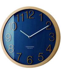 INTERFORM INC. インターフォルム 電波時計 壁掛け ウッドフレーム 木 シンプル 掛け時計 見やすい ネイビー Plock プロック CL-2940NV