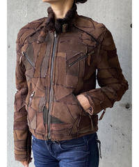 patchwork mouton single ridersjacket