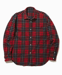NOEL WIDE REGULAR COLLAR SHIRTS-RED- モデル着用Mサイズ(身長178cm)