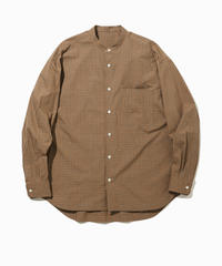 DAMON WIDE BAND COLLAR SHIRTS-BEIGE- モデル着用Lサイズ(身長178cm)