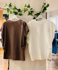 麻混フレンチ袖カットソー