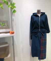 デニム×チェック×プリーツスカート/HARU`S AMI/181017