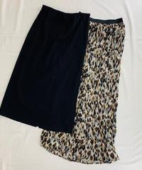 ティアード着用セット 綿リブ&レオパードプリーツ スカート