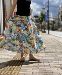 綿ローンcolorfulパネルlongスカート