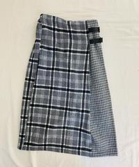 チェック柄ドッキング巻き風スカート