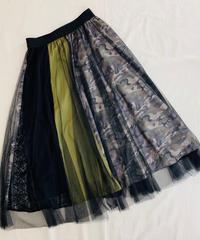 カモフラ&レース チュールオーバースカート