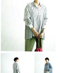 【ラリアムー Lallia Mu ご予約】サイドプリーツストライプシャツ