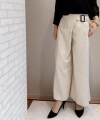 擬麻キャンバス・ラップスカート見えワイドパンツ