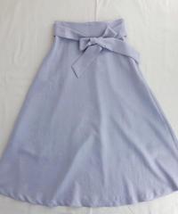 カラーサテンAラインロングスカート