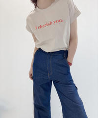 【Tomo'sSERECT】バンドフレンチ袖シルケットLOGO‐Tee (I cherish you)