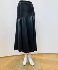 エコレザー*デニム切り替えスカート