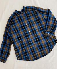 パール釦スタンド襟チェックシャツ
