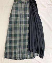 チェック&プリーツ ドッキングスカート