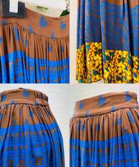 ボタニカル・パネル柄long skirt