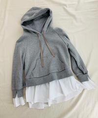 盛り袖・裾ペプラムフーデットプルオーバー