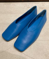 WANDERUNG(ワンデルング)Square Leather Flat Shoes
