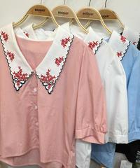 💐お花刺繍半袖パフブラウス💐(NO.6568)