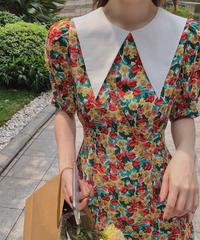 大きめ襟2パターンパフ袖花柄ワンピース(NO.6605)