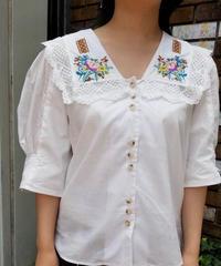 🍀花刺繍セーラー襟ブラウス👒(NO.6640)
