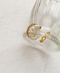 ear cuff -pearl&circle-