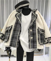 ツイードパッチワークジャケット