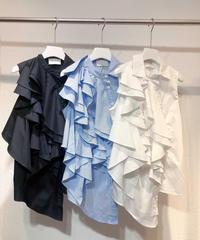 ボリュームフリルノースリーブシャツ