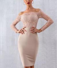 オフショルレースドレス