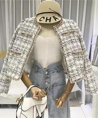 ノーカラーツイードジャケット