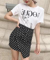 vogueロゴtシャツ ドットスカート セットアップ