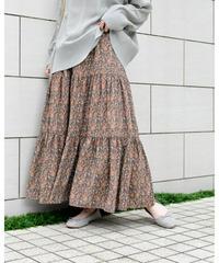 ペイズリー柄 ティアードスカート [213FB018]