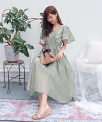 frill sleeve long onepiece