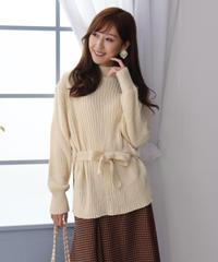 waist ribbon  design knit〈White〉long