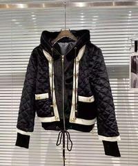 ベロア素材フード付きジャケット