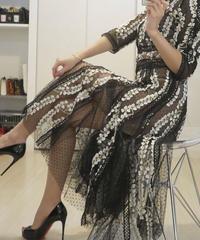 かぎ針編みメッシュワンピース