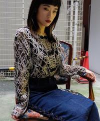 VINTAGE   see-through CHAINA SHIRT