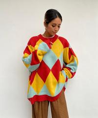 wide knit「argyle」#3178