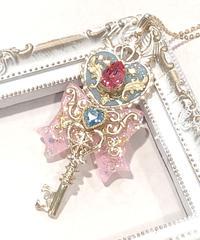 てんしのしっぽ☆ /変身ネックレス(ピンク×サックス)