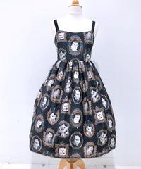 Enchantlic EnchantilIy/アンシャンテリックアンシャンテリー 猫の王女達の肖像画ジャンパースカート(黒×青薔薇)