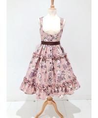 Innocent World/イノセントワールド  ロマンティックティアードジャンパースカート(ローズピンク×ショコラ)Lサイズ