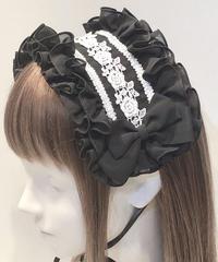 ATELIER-PIERROT/アトリエピエロ ローズフリルヘッドドレス(ブラック×ホワイト)