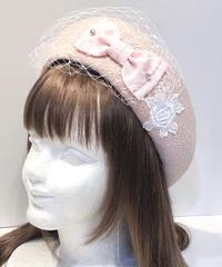 Enchantlic EnchantilIy/アンシャンテリックアンシャンテリー 麗らかなリボンチュールサマーベレー帽(ピンク)