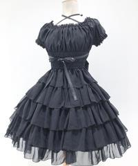 Pina sweetcollection/シフォンフリルワンピース(ブラック)