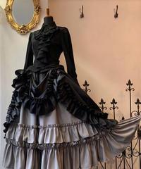 ATELIER BOZ/シャンタンロゼヴィアンロングスカート(ブラック×グレー)