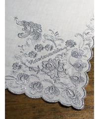Victorian maiden/孔雀刺繍ハンカチ(ブルー)
