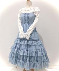 Victorian maiden/ シャーリングシフォンロングアンダードレス (ライトブルー)