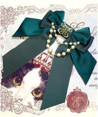 Enchantlic Enchantilly/アンシャンテリックアンシャンテリー ロゴ刺繡パールリボンブローチ(グリーン)