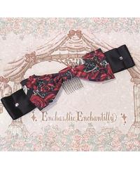 Enchantlic EnchantilIy 幻影の薔薇リボンコーム(黒×赤薔薇)